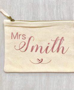mrs personalised make up bag