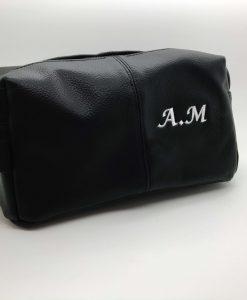 personalised leather look wash bag black