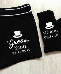 groom underwear set with date