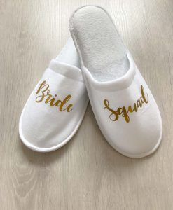 bride squad pair of slippers white