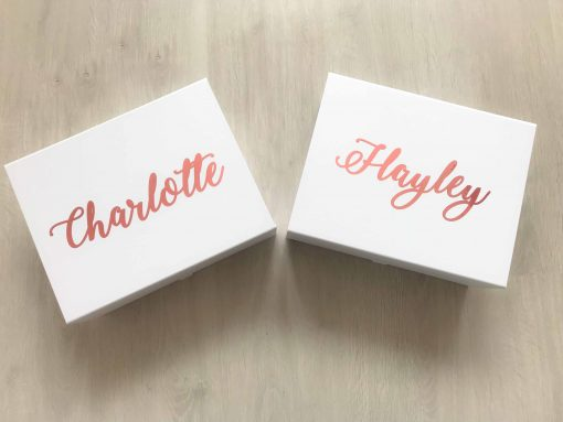 bridesmaid proposal boxes with pink writing and name