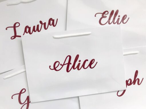 white gift bags for bridesmaids