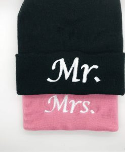 mr and mrs customised beanie hats