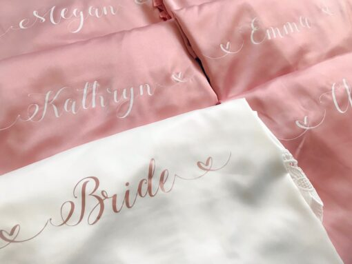 bridal party satin lace robe with lace trim