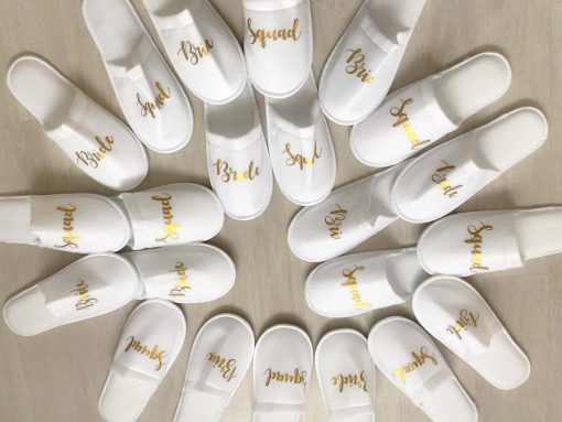 bride squad white slippers with gold text