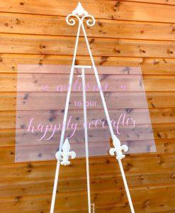 clear acrylic sign for wedding