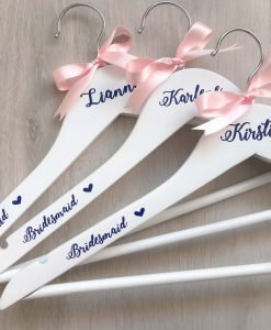 bridesmaid hangers with ribon