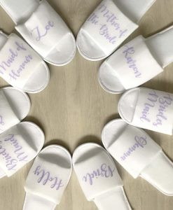 bridal party slippers personalised