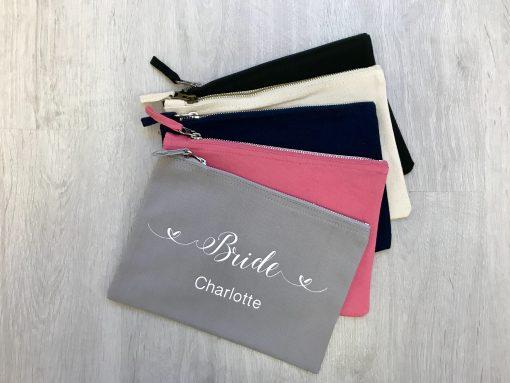 bridal party makeup bags personalised
