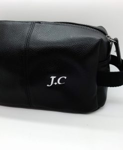 personalised leather look wash bag