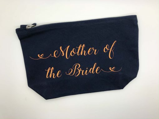 mother of the bride makeup bag with text