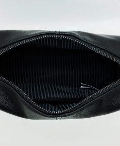personalised leather look wash bag interior