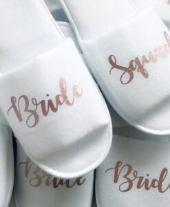 bride squad slippers with pink text