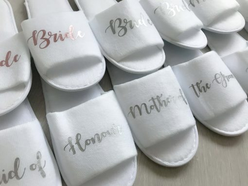 bridal party open toe slippers