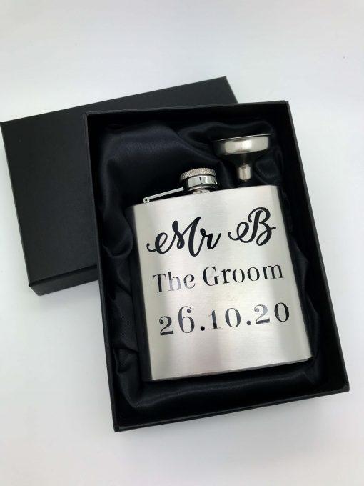 personalised groom hip flask silver