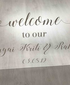 personalised acrylic welcome sign for wedding