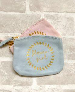 flower girl personalised purse grey
