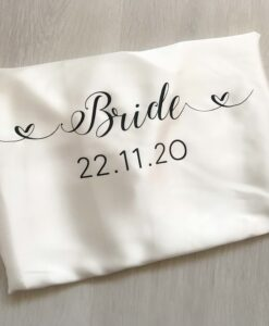personalised satin robe for bride