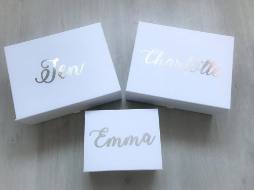 bridesmaid boxes with silver writing