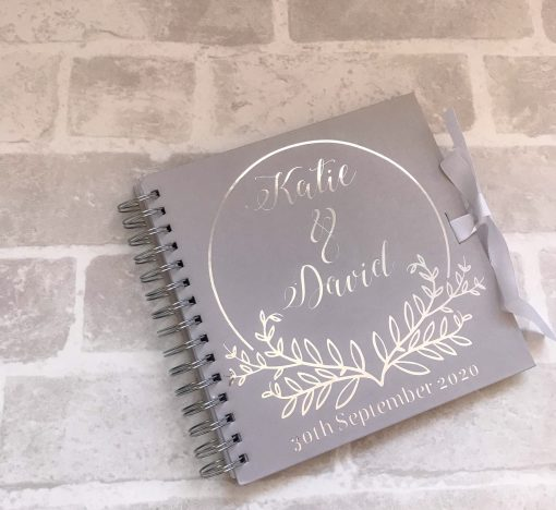 personalised guest book silver