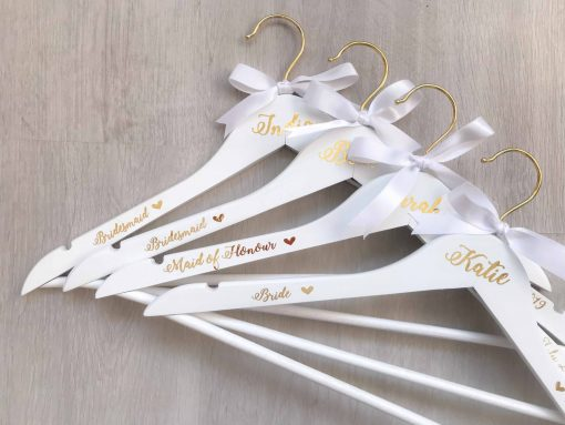 personalised white hangers for bridal party