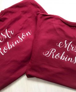 mr and mrs tshirts red and white