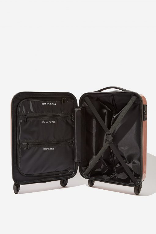pink personalised suitcase interior