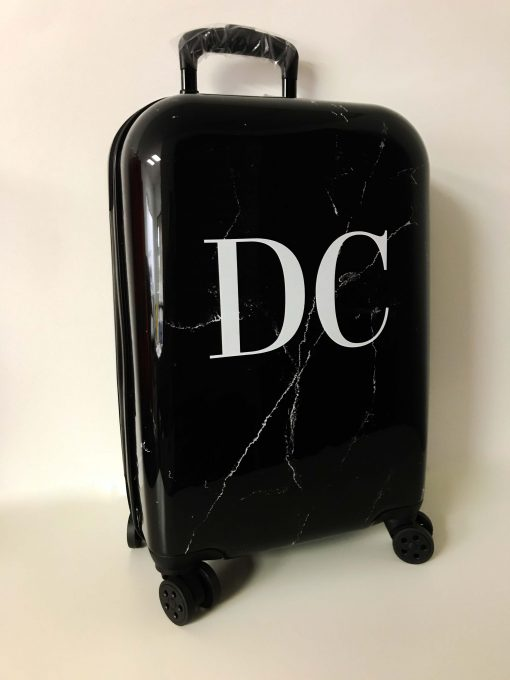 initial suitcase black marble effect