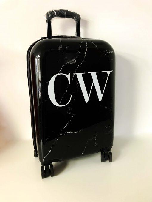 black marble effect suitcase personalised