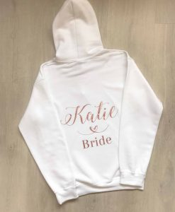 personalised bride hoodie white and pink