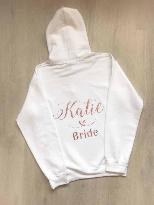 personalised bride hoodie white and pink