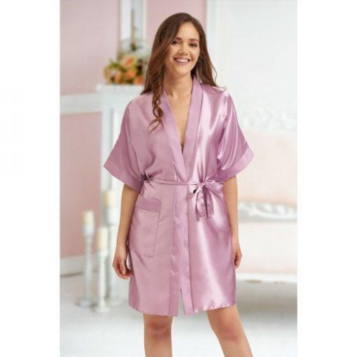 personalised wedding role satin robe dusty rose