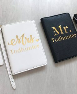 mr and mrs travel set black and white