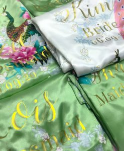 green floral satin lace robe