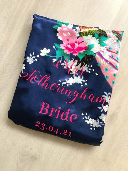 floral dark blue bridal robe