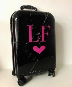 black marble personalised suitcase