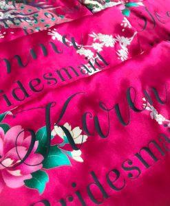 hot pink floral satin robe