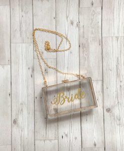 bridal clear clutch bag