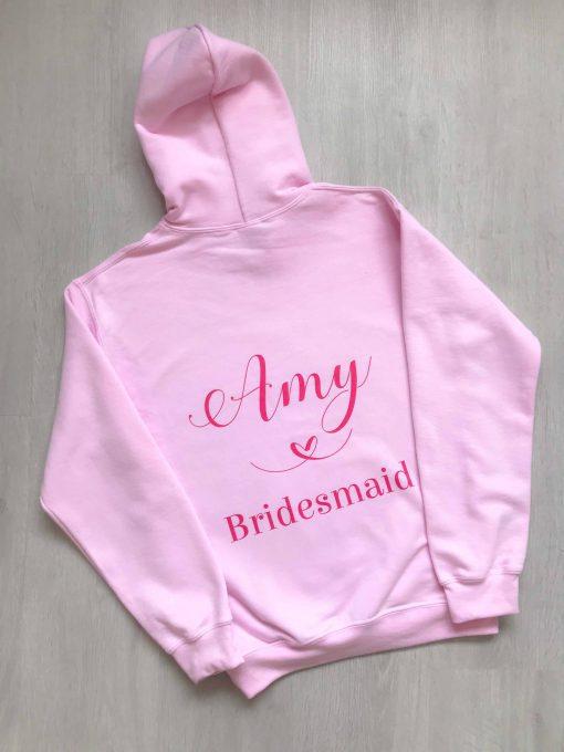 personalised bridesmaid hoodie pink