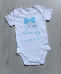 personalised page boy babygrow