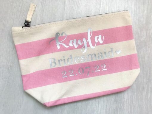 personalised stripe accessory bag
