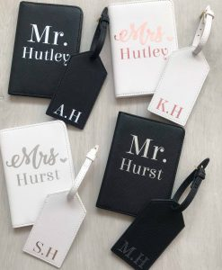 mr and mrs travel document covers with names on