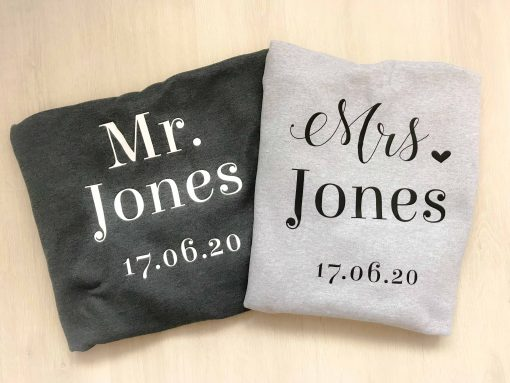 mr and mrs hoodies grey