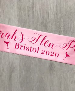 personalised pink sash for hen do