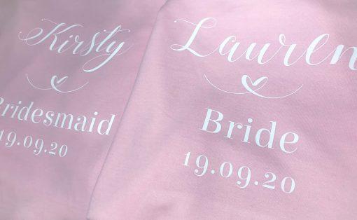 pink personalised bridesmaid hoodie