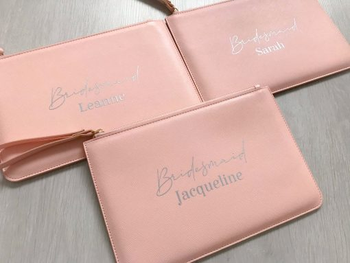 bridal party leather look bag pink