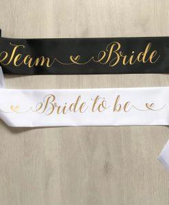 team bride sash black and white