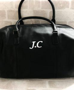 personalised leather look weekend bag
