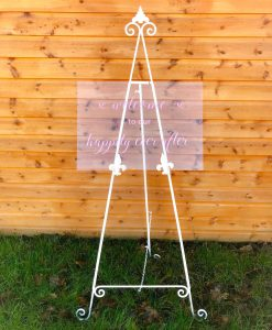 acrylic easel hire for wedding