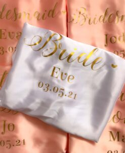 personalised wedding role satin robe